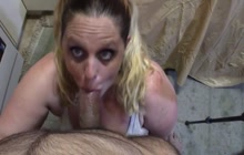 Cock sucking by lusty milf from POV